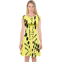 Circular Dot Selections Circle Yellow Capsleeve Midi Dress