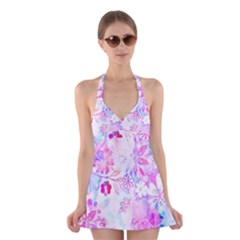 Watercolor fairy flowers Halter Swimsuit Dress