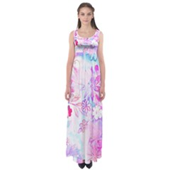 Watercolor fairy flowers Empire Waist Maxi Dress