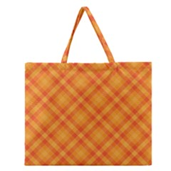 Clipart Orange Gingham Checkered Background Zipper Large Tote Bag