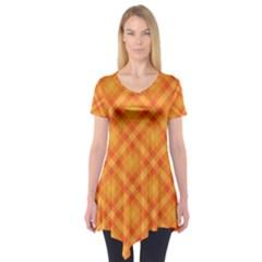 Clipart Orange Gingham Checkered Background Short Sleeve Tunic