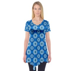 Blue Flower Clipart Floral Background Short Sleeve Tunic