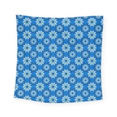 Blue Flower Clipart Floral Background Square Tapestry (small)