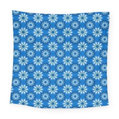 Blue Flower Clipart Floral Background Square Tapestry (large)