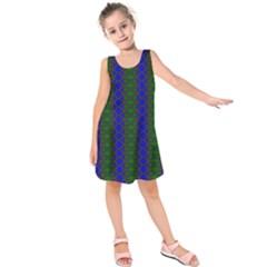 Diamond Alt Blue Green Woven Fabric Kids  Sleeveless Dress