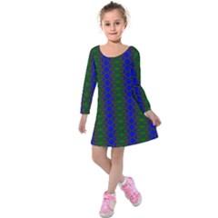 Diamond Alt Blue Green Woven Fabric Kids  Long Sleeve Velvet Dress