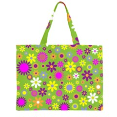 Colorful Floral Flower Large Tote Bag