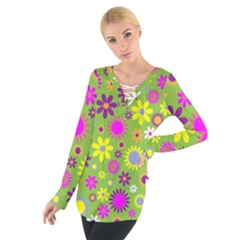 Colorful Floral Flower Women s Tie Up Tee