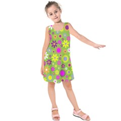 Colorful Floral Flower Kids  Sleeveless Dress