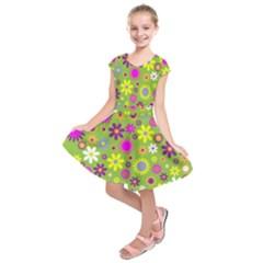 Colorful Floral Flower Kids  Short Sleeve Dress