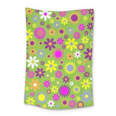 Colorful Floral Flower Small Tapestry