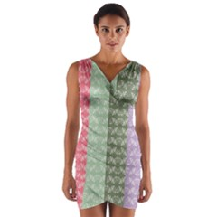Digital Print Scrapbook Flower Leaf Color Green Gray Purple Blue Pink Wrap Front Bodycon Dress