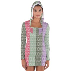 Digital Print Scrapbook Flower Leaf Color Green Gray Purple Blue Pink Women s Long Sleeve Hooded T-shirt