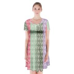 Digital Print Scrapbook Flower Leaf Color Green Gray Purple Blue Pink Short Sleeve V-neck Flare Dress