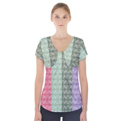 Digital Print Scrapbook Flower Leaf Color Green Gray Purple Blue Pink Short Sleeve Front Detail Top