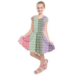 Digital Print Scrapbook Flower Leaf Color Green Gray Purple Blue Pink Kids  Short Sleeve Dress