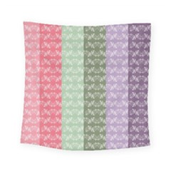 Digital Print Scrapbook Flower Leaf Color Green Gray Purple Blue Pink Square Tapestry (small)