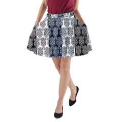 Digital Print Scrapbook Flower Leaf Colorgray Black Purple Blue A-Line Pocket Skirt