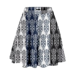 Digital Print Scrapbook Flower Leaf Colorgray Black Purple Blue High Waist Skirt