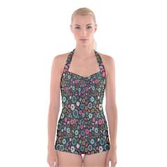 Floral Flower Flowering Rose Boyleg Halter Swimsuit