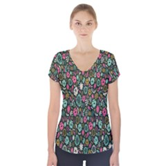 Floral Flower Flowering Rose Short Sleeve Front Detail Top