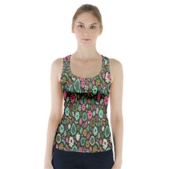 Floral Flower Flowering Rose Racer Back Sports Top