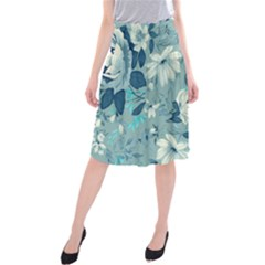 Floral Pattern Wallpaper Midi Beach Skirt