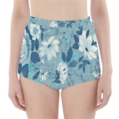 Floral Pattern Wallpaper High-Waisted Bikini Bottoms