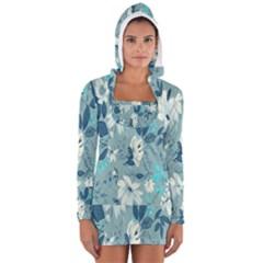 Floral Pattern Wallpaper Women s Long Sleeve Hooded T-shirt