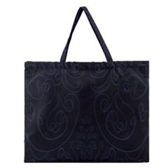 Flower Floral Blue Black Zipper Large Tote Bag