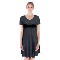 Flower Floral Blue Black Short Sleeve V-neck Flare Dress
