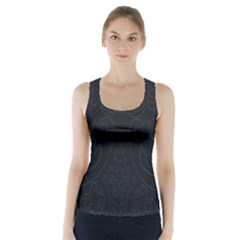 Flower Floral Blue Black Racer Back Sports Top