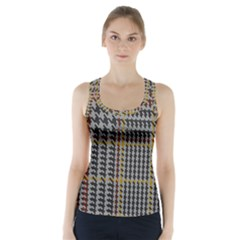 Glen Woven Fabric Racer Back Sports Top