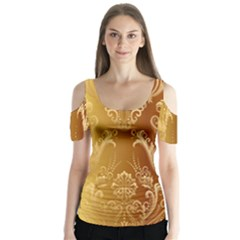 Golden Flower Vintage Gradient Resolution Butterfly Sleeve Cutout Tee