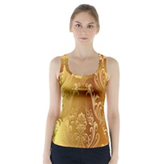 Golden Flower Vintage Gradient Resolution Racer Back Sports Top