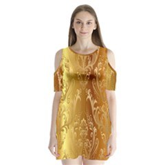 Golden Flower Vintage Gradient Resolution Shoulder Cutout Velvet  One Piece