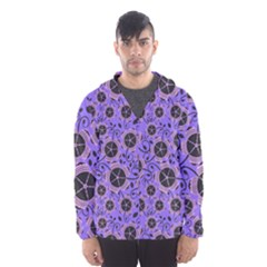 Flower Floral Purple Leaf Background Hooded Wind Breaker (men)