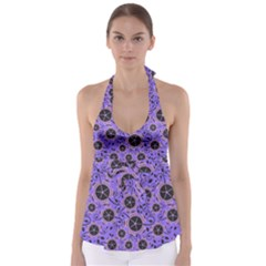 Flower Floral Purple Leaf Background Babydoll Tankini Top