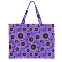 Flower Floral Purple Leaf Background Large Tote Bag