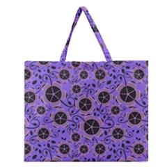 Flower Floral Purple Leaf Background Zipper Large Tote Bag