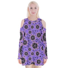 Flower Floral Purple Leaf Background Velvet Long Sleeve Shoulder Cutout Dress