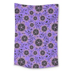 Flower Floral Purple Leaf Background Large Tapestry