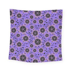 Flower Floral Purple Leaf Background Square Tapestry (small)