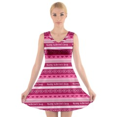 Happy Valentine Day Love Heart Pink Red Chevron Wave V-Neck Sleeveless Skater Dress