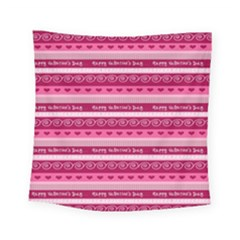 Happy Valentine Day Love Heart Pink Red Chevron Wave Square Tapestry (small)