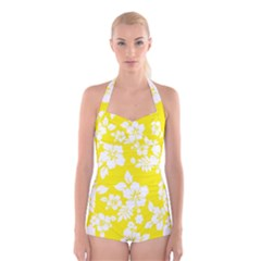 Hawaiian Flowers Boyleg Halter Swimsuit