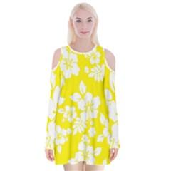 Hawaiian Flowers Velvet Long Sleeve Shoulder Cutout Dress