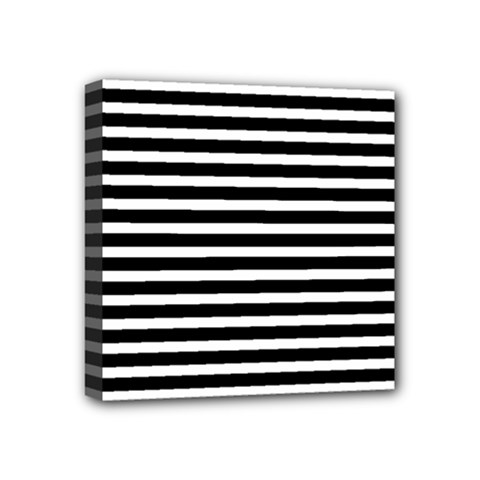 Horizontal Stripes Black Mini Canvas 4  X 4