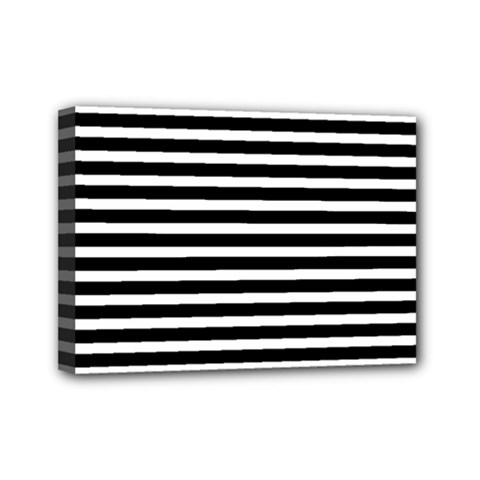 Horizontal Stripes Black Mini Canvas 7  X 5