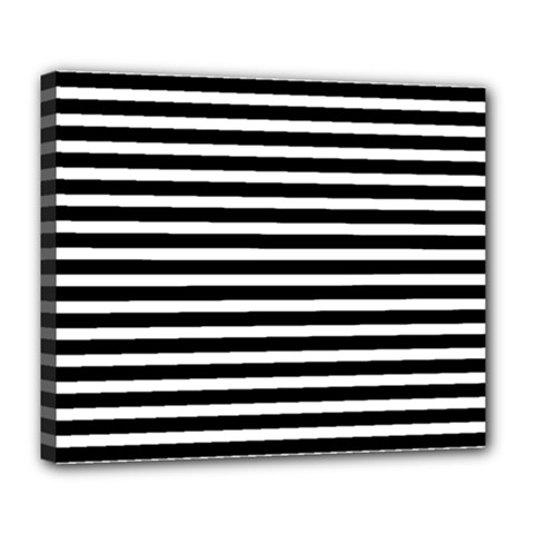 Horizontal Stripes Black Deluxe Canvas 24  X 20